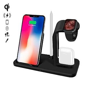 ODLICNO Qi ワイヤレス充電器 急速 3 in 1 充電スタンド アップルウォッチ スタンド Airpods/Apple Watch充電器 最新版 ペン立て付き iPhone X/XS/XR/XS Max/8/8 Plus Qi 急速充電対応 Galaxy S9/S9 Plus/Note8/S8/S8 Plus/S7/S7 Edge/S6 Edge Plus 10W 対応 その他Qi対応機種も適用