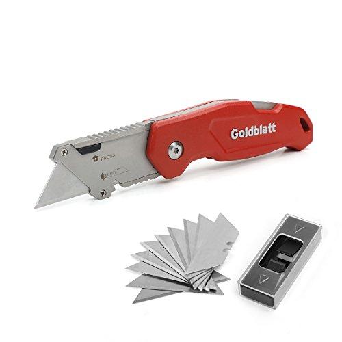 GOLDBLATT 折畳み式カッターナイフ ( 10枚替え刃付き) ストリッパー功能付き