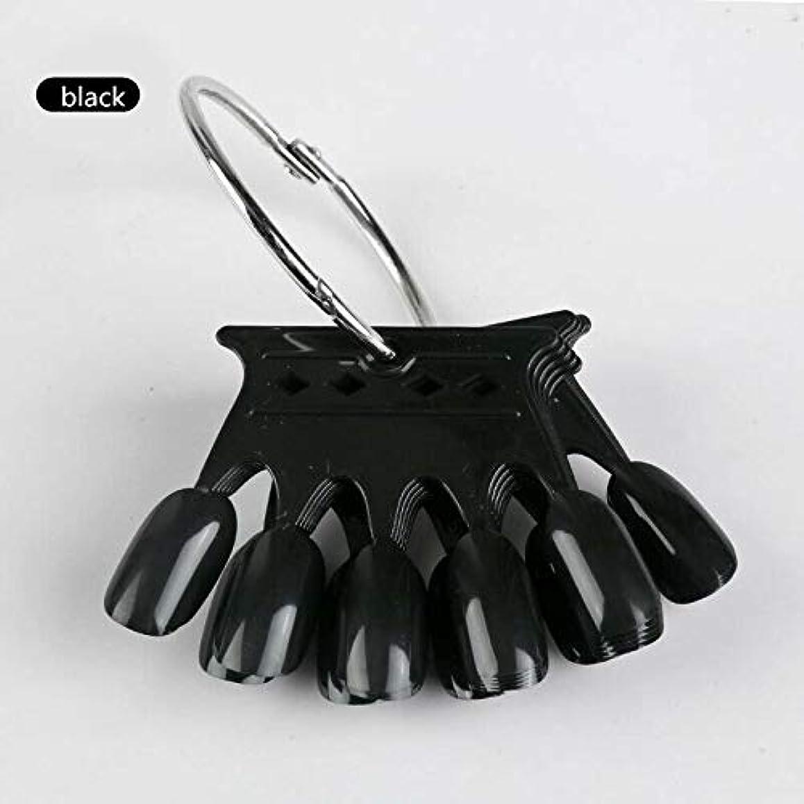 後方に壮大著名な10pcs Black Crown Shaped Nail Art Display Tips False Nail Tips Fake Palette Acrylic UV Gel Polish Manicure Practice...