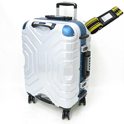[セット品] (シフレ) siffler ESCAPE'S GripMaster B5225T-54 ハードキャリーケース ・ 鞄倶楽部 59013 スーツケースベルト 黄/黒 【合計2点セット】 (ヘアラインホワイト/ブルー)