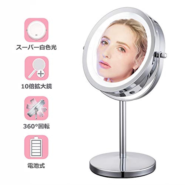 ヒュームスチール長方形10倍拡大鏡 LEDライト付き 真実の両面鏡 360度回転 卓上鏡 スタンドミラー メイク 化粧道具 【Jeking】