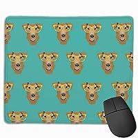 エアデールテリアメガネかわいい犬のパターンティールマウスパッド 25 x 30 cm