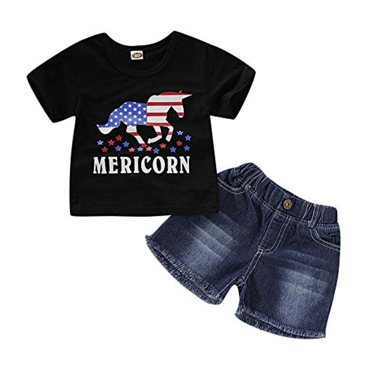 彼の好奇心激しいRad子供 赤ちゃん男の子夏半袖漫画レタープリントTシャツトップス+デニムショートパンツカジュアルコスチュームセット