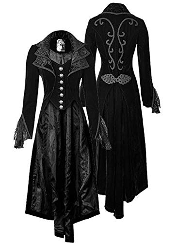 Women's Steampunk Gothic Vintage Jacket Victorian Tailcoat Long Trench Coat Jacket Halloween Costume (XL, Black)