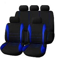 カーシートカバー、5シートカーユニバーサルフロント&リアコットンクロスフォーシーズンズパッド (Color : Blue)