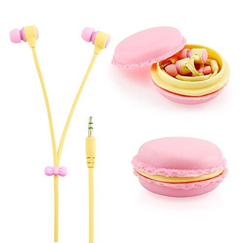 Chiasa イヤホン 高音質 カナル型 通話可能 Macaron収納ケース付属 iPhone/iPad/Android対応 (ピンク)