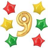 アドワン 数字 風船 バルーン 飾り付け 誕生日 ゴールド 大きい 数字1~9 文字 記念日 お祝い (9)