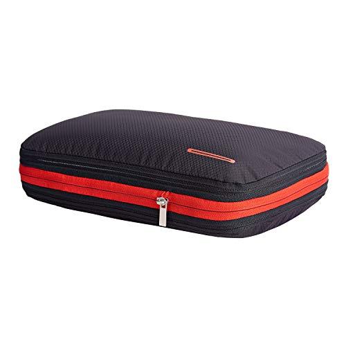 超便利旅行圧縮バッグ ファスナー圧縮で衣類スペース50%節約 軽量 出張 旅行 可変スペース 便利グッズ レッドブラック