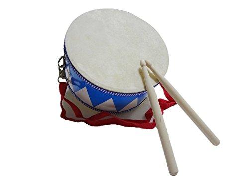 Hoshizoraya ( ほしぞらや ) キッズパーカッション 太鼓 音楽 天然シープ 両面 お子様 の 太鼓 練習 タンバリン付き (ブルー)