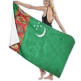 ビーチバスタオル バスタオル トルクメニスタンの旗 バスタオル 海水浴 旅行用タオル 多用途 おしゃれ One Size White