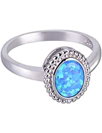 KELITCH オーパル指輪 10月誕生石リング シルバー レディース メンズ 専用BOX ブルー 20号
