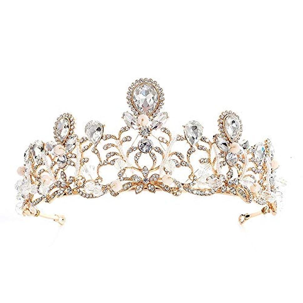 シマウマものたらいウェディング アクセサリー ティアラ 花嫁のティアラのヘアバンドウエディングクラウンの高さの結婚式のティアララインストーンの装飾 プリンセス タイプ (色 : ゴールド)
