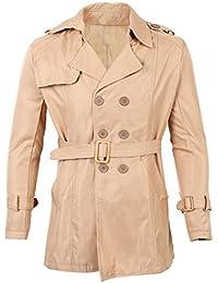 SODIAL(R)メンズ冬スリムダブルブレストトレンチコートロングジャケットオーバーコートカーキサイズXXL/米国L