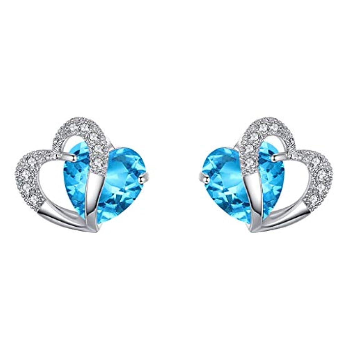 クリエイティブ石タクシーNicircle ブルーハートスタッドピアスホワイトゴールドハートスタッドピアスジュエリー ブルー Women Blue Heart Stud Earrings White Gold Heart Stud Earrings...