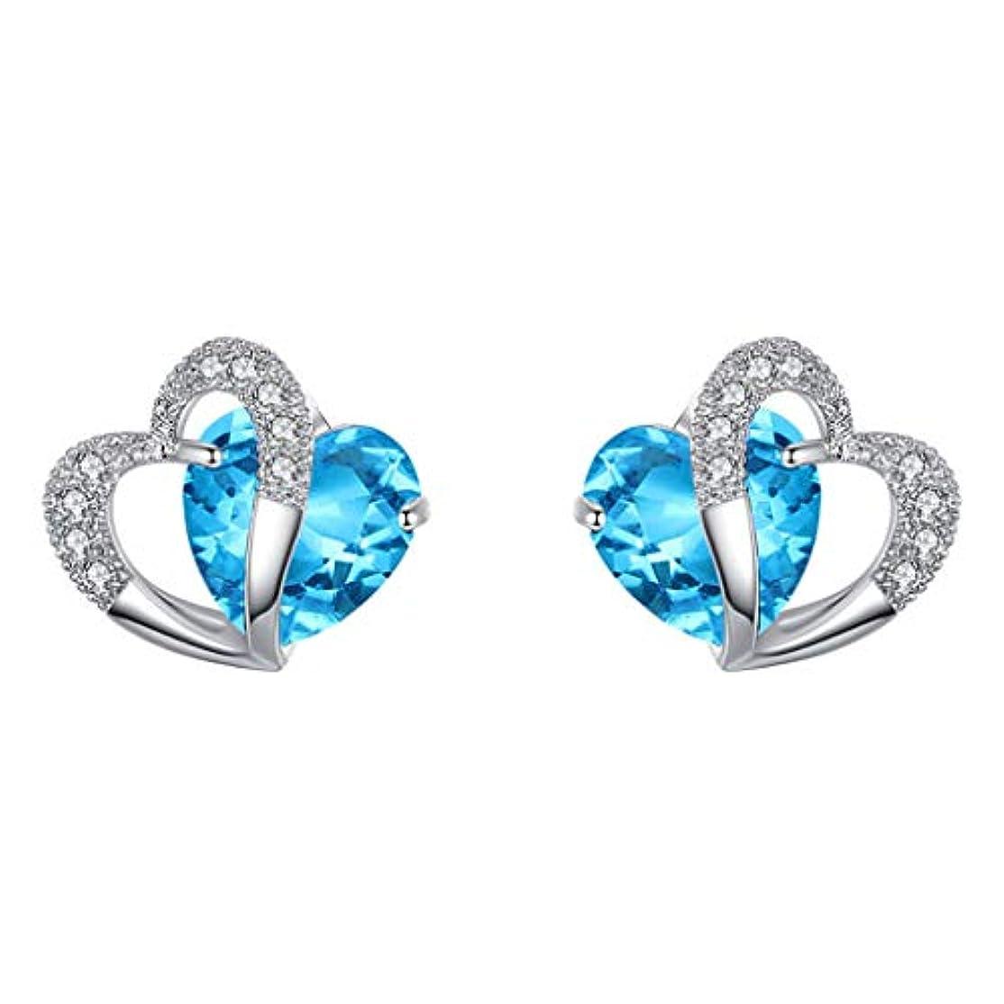 放射性トラブルNicircle ブルーハートスタッドピアスホワイトゴールドハートスタッドピアスジュエリー ブルー Women Blue Heart Stud Earrings White Gold Heart Stud Earrings...