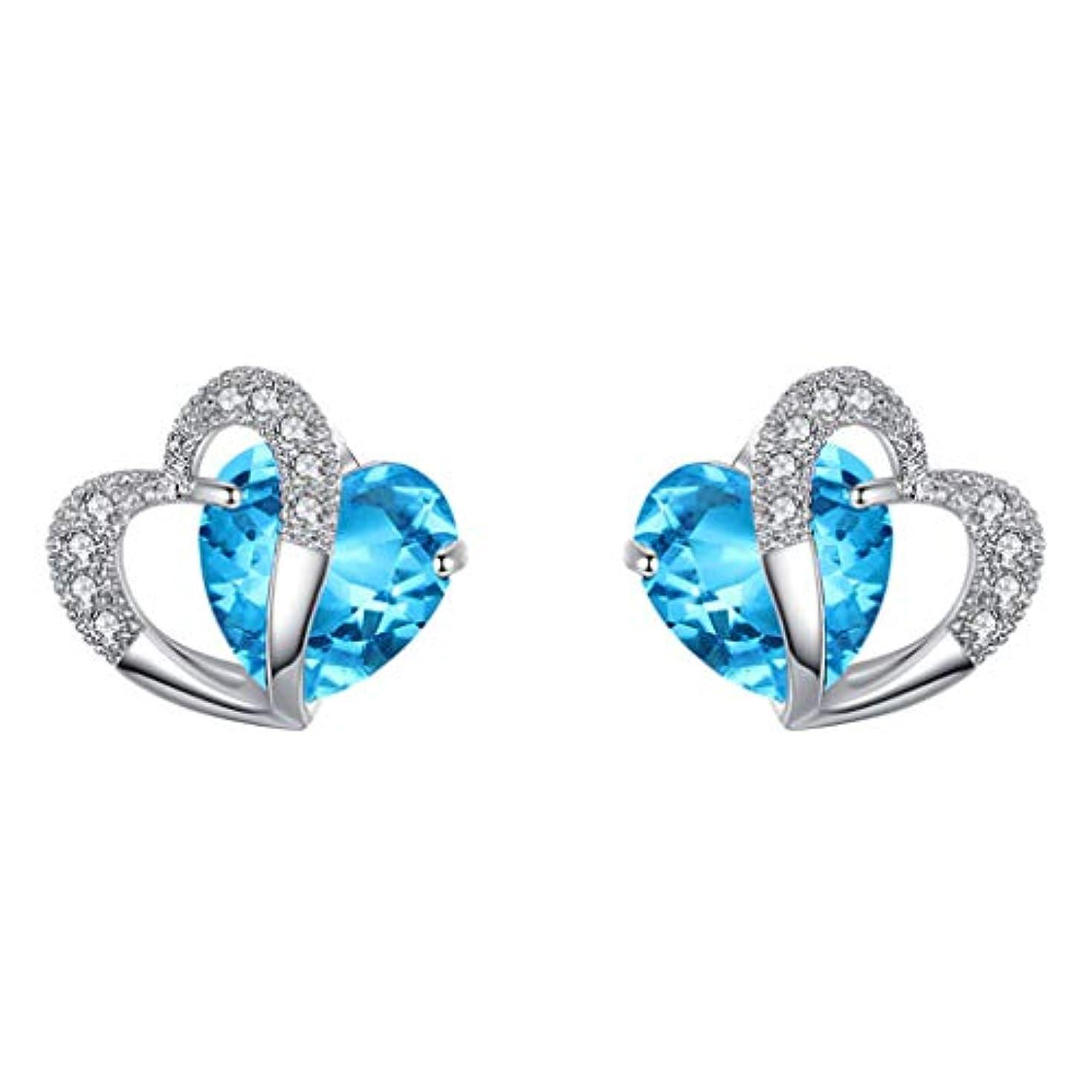 感情手名前でNicircle ブルーハートスタッドピアスホワイトゴールドハートスタッドピアスジュエリー ブルー Women Blue Heart Stud Earrings White Gold Heart Stud Earrings...