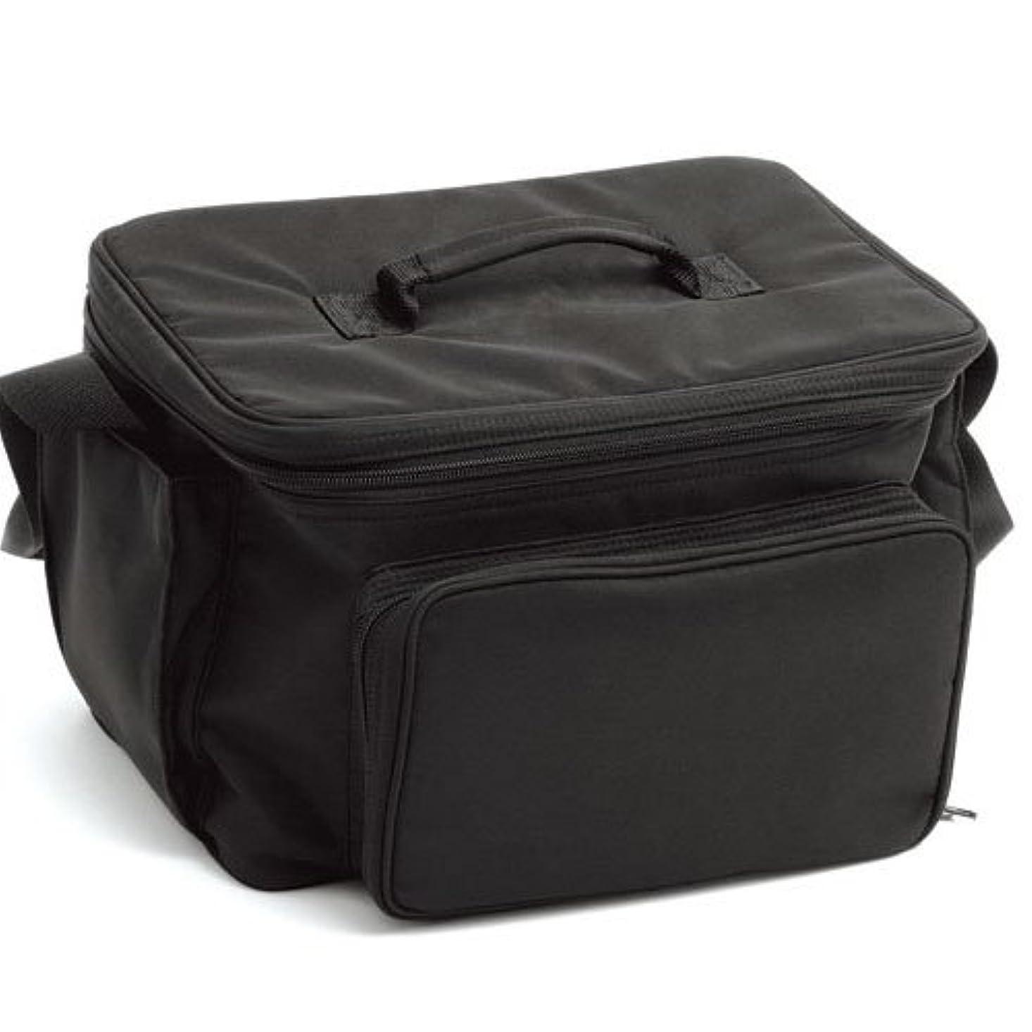 キノコ配置緩むLIFEBEAUTY コスメバック ブラック ソフトタッチのナイロン生地 W320×D250×H220mm