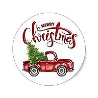 ビンテージ レッド トラック クリスマス ギフト タグ ステッカー ラベル クラフト用 封筒バッグ シール 装飾