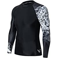 HUGE SPORTS Mens Wildling Series Quick Dry Compression MMA BJJ Rash Guard Rashguard Swim Swimming Surfing Shirt Tee Long Sleeve UV Protection