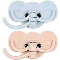 FISTE 壁掛けフック かわいい象鼻フック 1個に3フック 強力粘着 耐荷重3kg キッチンバスルーム用 壁飾り 収納可能 2個入り