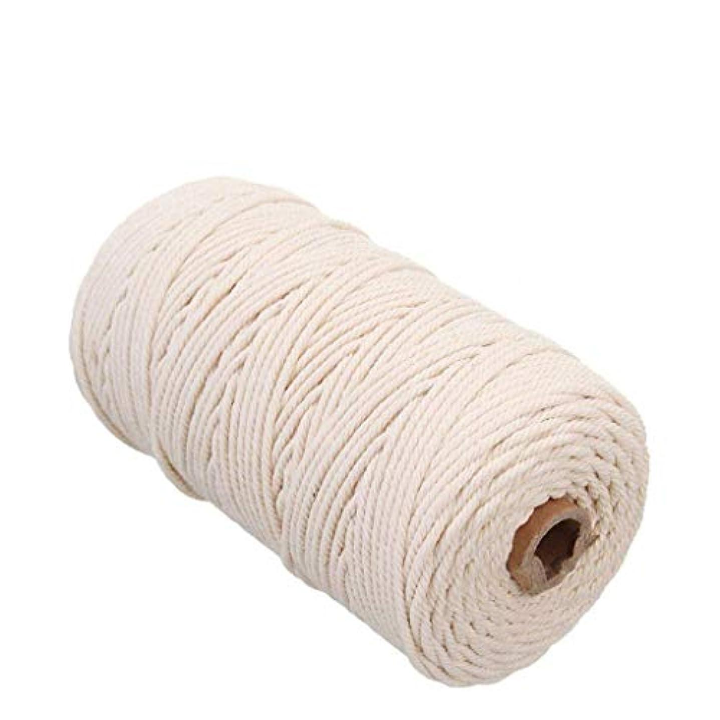 牛認知時計回り手作りコットン糸 編み 天然コード 紐 綿糸ロープ 壁掛けロープナチュラルカラーニット製造プラントハンガー?クラフト 2mm x 200m (ライスホワイト)