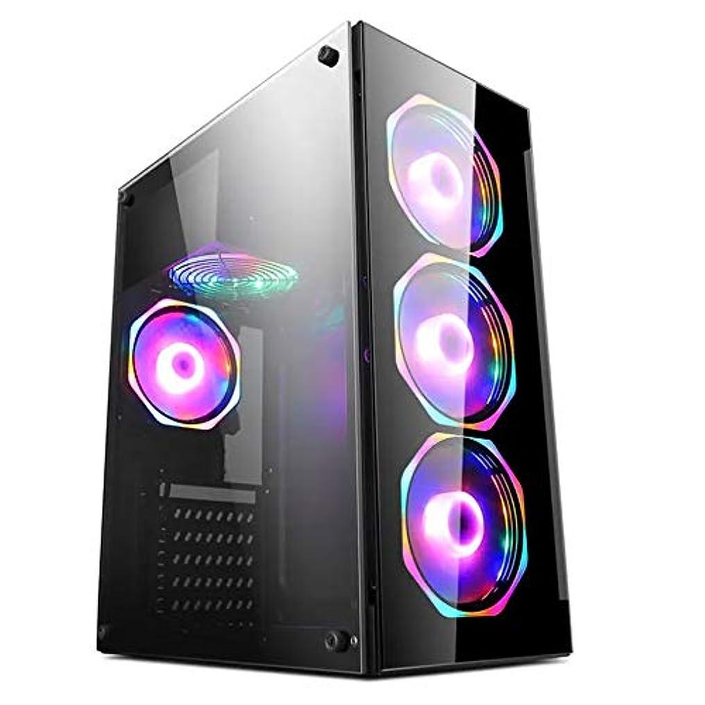 輝度司書信じるPCケース MINIゲーミングケースATX/M-ATX/MINI-ITX PCのコンピュータケースのUSB 2.0 SPCC透明デスクトップシャーシ ゲーミングケース (Color : Black, Size : One size)