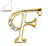 "14Kゴールドとダイヤモンド初期レター"" F""ペンダントチャーム(0.03tdw、G - H、i1クラリティ) 10mm with 18""ソリッドケーブルチェーン"