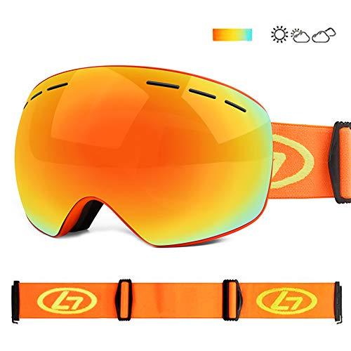スキーゴーグル スノーゴーグル スノーボードゴーグル フレームレス 広視野 球面ダブルレンズ 曇り止め 偏光 レンズ UV400 紫外線カット メガネ対応 3層スポンジ 通気 防風 防塵 防雪 軽量 耐衝撃 男女兼用