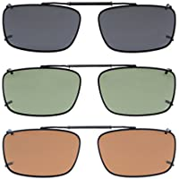 Eyekepper Grey/Brown/G15 Lens 3-pack Clip-on Polarized Sunglasses 54x34MM