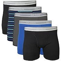 Gildan Men's Short Leg Boxer Briefs, 5-Pack, Black/Royal/Charcoal/Stripe