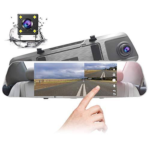 【2019最新版】ドライブレコーダー バックミラー型 前後カメラ 前後同時録画 タッチパネル 7.0インチ1200万画素170度広角レンズ 1080PフルHD HDR 暗視 Gセンサー 駐車監視 上書き録画 動き検知