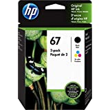 Original HP 67 Black/Tri-color Ink Cartridges (2-pack) | Works with HP DeskJet 1255, 2700, 4100 Series, HP ENVY 6000, 6400 Se