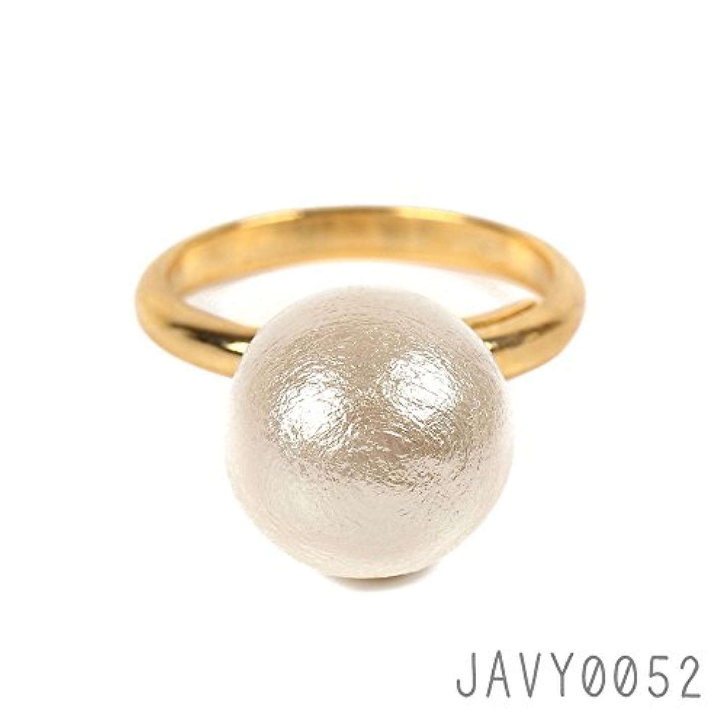 無心縮約スキムコットンパール 指輪 サイズ調整可能なデザイン 素敵な 大珠12mm コットンパールリング ゴールド×キスカ