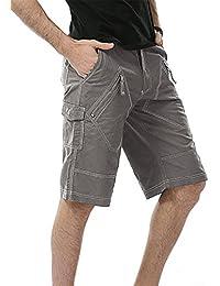 crazy(クレイジー) カーゴパンツ 綿 ショートパンツ メンズ ハーフパンツ チノパン 短パンツ 作業服 カジュアル  多いポケット (グレー, 30)