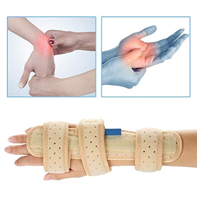 焦げ無力ブレーク手根管手首ブレース、指手副木テープ手タラベルベット指通気性アルミニウムフィクサー手根管症候群骨折関節炎