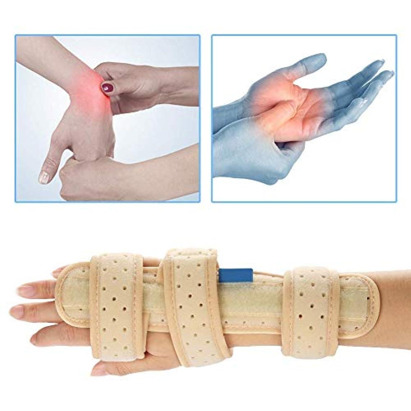 リズムオーディション有益手根管手首ブレース、指手副木テープ手タラベルベット指通気性アルミニウムフィクサー手根管症候群骨折関節炎