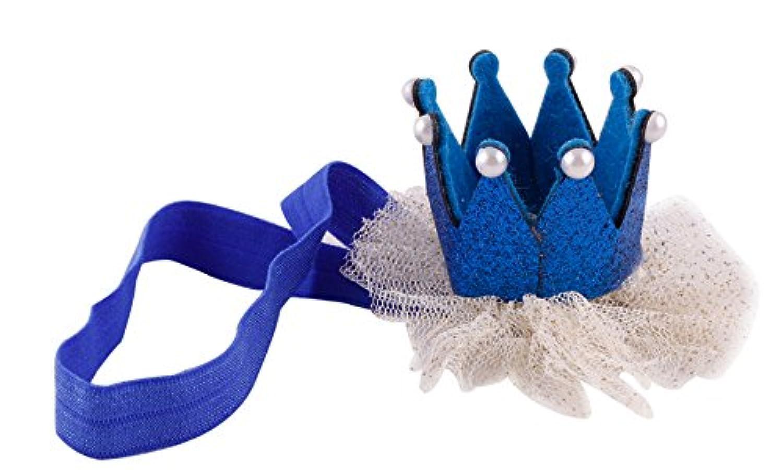 Little Thing (リトルシング) ★新商品 赤ちゃん ヘアバンド ベビー 髪飾り 王冠 ヘアバンド ヘアアクセサリー 出産祝い 結婚式 全5色 (ブルー)