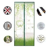 磁気スクリーンドア、厚手メッシュカーテン、フルフレームシール、ハンズフリー、静音、自然にブロックする昆虫、バルコニーのドア、地下室のドア、パティオのドア,Green,90*210cm