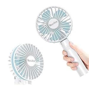 COULAX 【令和モデル】携帯扇風機 卓上扇風機 手持ち/卓上両用 USB充電式 5段階風量調節 90°首振り回転可能 静音 折り畳み可能 2500mAh大容量バッテリー 携帯便利 ハンディ ポータブル 台座付き ストラップ付 熱中症対策グッズ