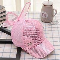 子供の帽子 韓国語版 の女の子夏の舌帽子 通気性メッシュ 太陽陰野球 太陽帽子 太陽帽子 太陽帽子 太陽帽子 太陽防水王女潮潮 平均コード-M弓スパンコール - ピンク 2~8歳は頭周に応じて購入することをお勧めします