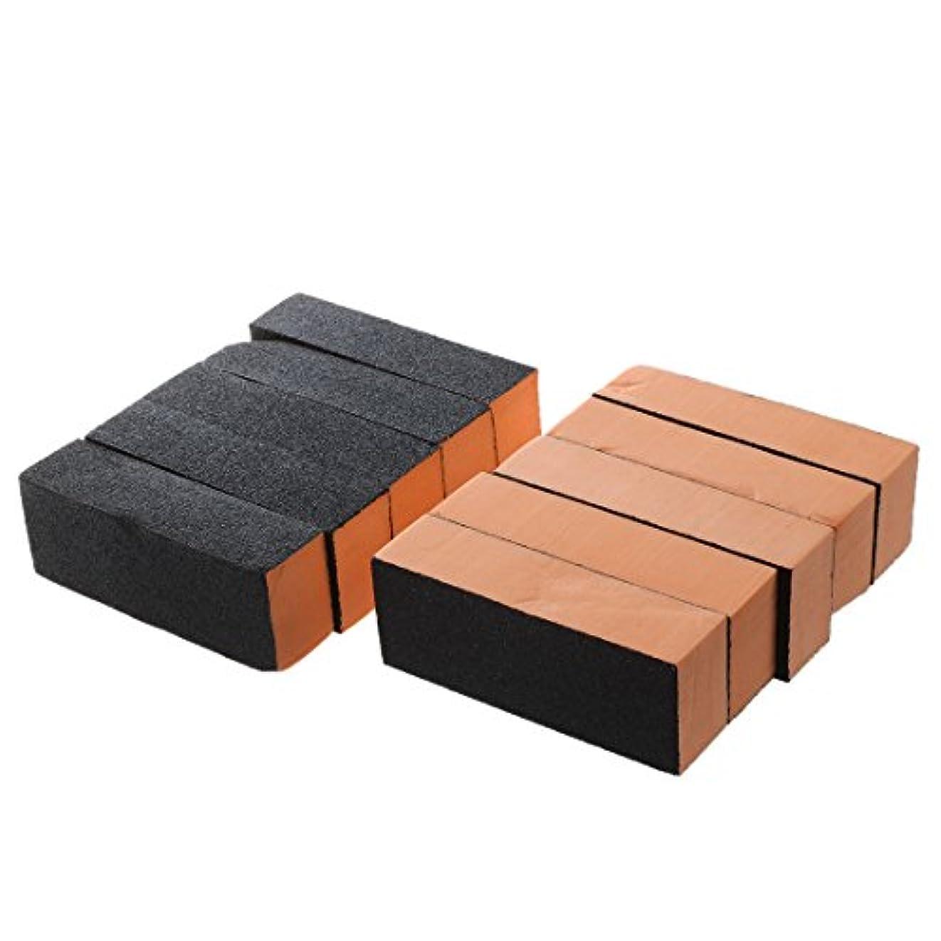 甲虫実用的業界ACAMPTAR 10×ブラックオレンジネイルポリッシャー4ウェイバッファバフブロックマニキュアファイル