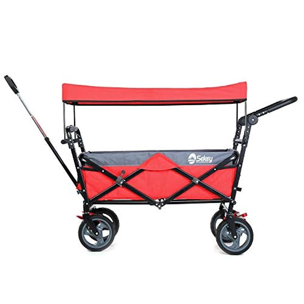 長くするバスケットボール怒ってSekey キャリーカート ワゴン 折り畳み式 耐荷重100㎏ 幌付き アウトドア 室内 多用途 組み立て不要 2色合わせ