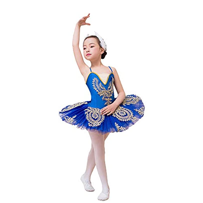 提案する品揃えチャネルGAOJIE ダンス衣装子供用バレエスリングバレエスワンレイクパフ子供用スパンコールバレエチュチュスカート ガールダンススカート (色 : Blue, サイズ : 140cm)