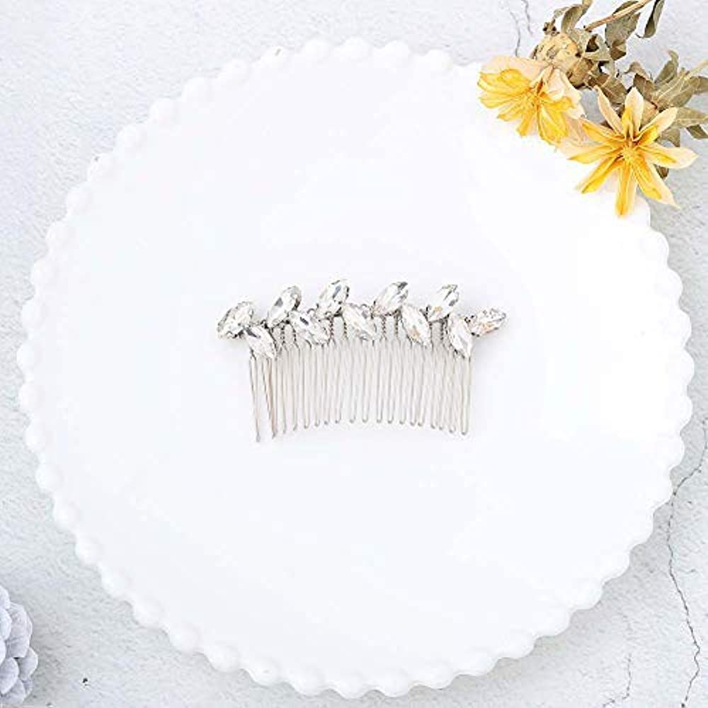 Jovono Bride Wedding Hair Comb Bridal Headpieces with White Rhinestone for Women and Girls (Silver) [並行輸入品]