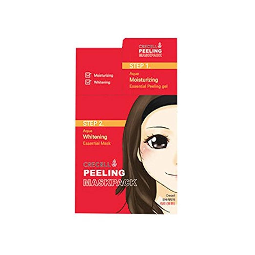 内訳異形雑種CRECELL Aqua Whitening Essential Mask 2STEP【クリセルアクアホワイトニングエッセンシャルマスク 2ステップ】シートマスク フェイスパック オールインワン 韓国コスメ - 1ステップ(ピーリングジェル : 8個/3ml) 2ステップ(シートマスク: 8枚/20ml)