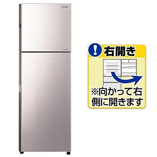 日立 【右開き】225L 2ドアノンフロン冷蔵庫 メタリックシ...