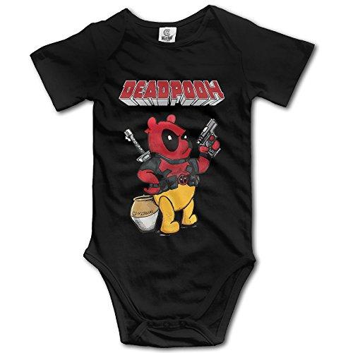 赤ちゃん&ベビー服 蜂蜜が好きな熊ヒーロー 可愛い おもしろ 半袖ロンパース 夏 女の子 男の子 18 Months ブラック