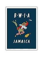 ジャマイカ - 英領西インドエアウェイズBWIA(ビー・ウィー) - カリブ海諸島 - ビンテージな航空会社のポスター によって作成された ディック・ニーガス・アンド・フィリップ・シャーランド c.1958 - アートポスター - 23cm x 31cm