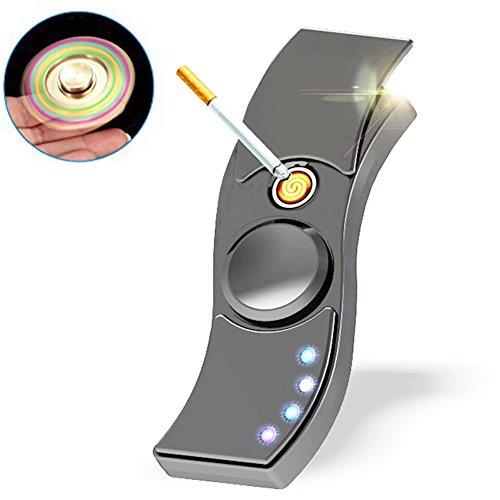 MaxKu ハンドスピナー Hand spinner Fidget Spinner Toy 電子USBライター 防風 2in1 1~3分高速回転可能 指スピナー おもちゃ ストレス解消 USB充電式 亜鉛合金USBライター (ブラック)