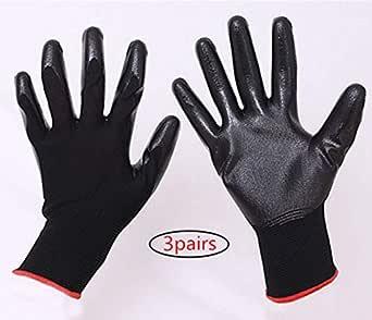 作業用 手袋 グローブ ガーデニング 園芸用 耐摩擦性 通気性 滑り止め 軍手 多用途 Mサイズ 3対ブラック